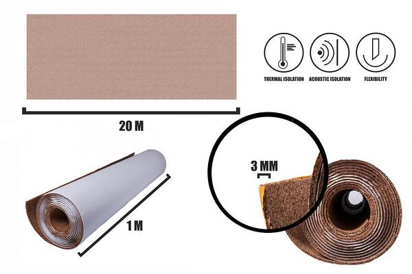 Selbstklebender Kork Rollen 3mm (20m)